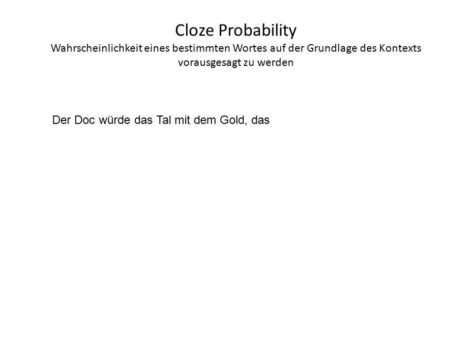 Cloze Probability Wahrscheinlichkeit eines bestimmten Wortes auf der Grundlage des Kontexts vorausgesagt zu werden Der Doc würde das Tal mit dem Gold, das