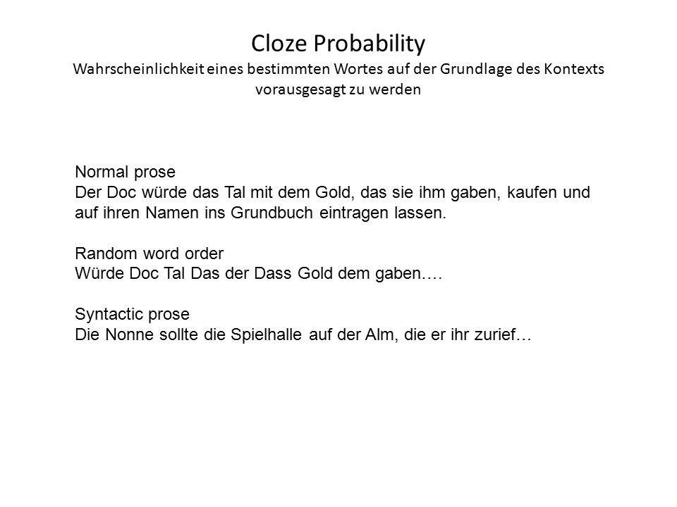 Cloze Probability Wahrscheinlichkeit eines bestimmten Wortes auf der Grundlage des Kontexts vorausgesagt zu werden Normal prose Der Doc würde das Tal mit dem Gold, das sie ihm gaben, kaufen und auf ihren Namen ins Grundbuch eintragen lassen.