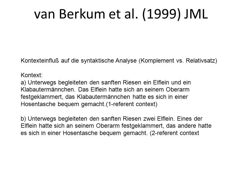 van Berkum et al. (1999) JML Kontexteinfluß auf die syntaktische Analyse (Komplement vs.