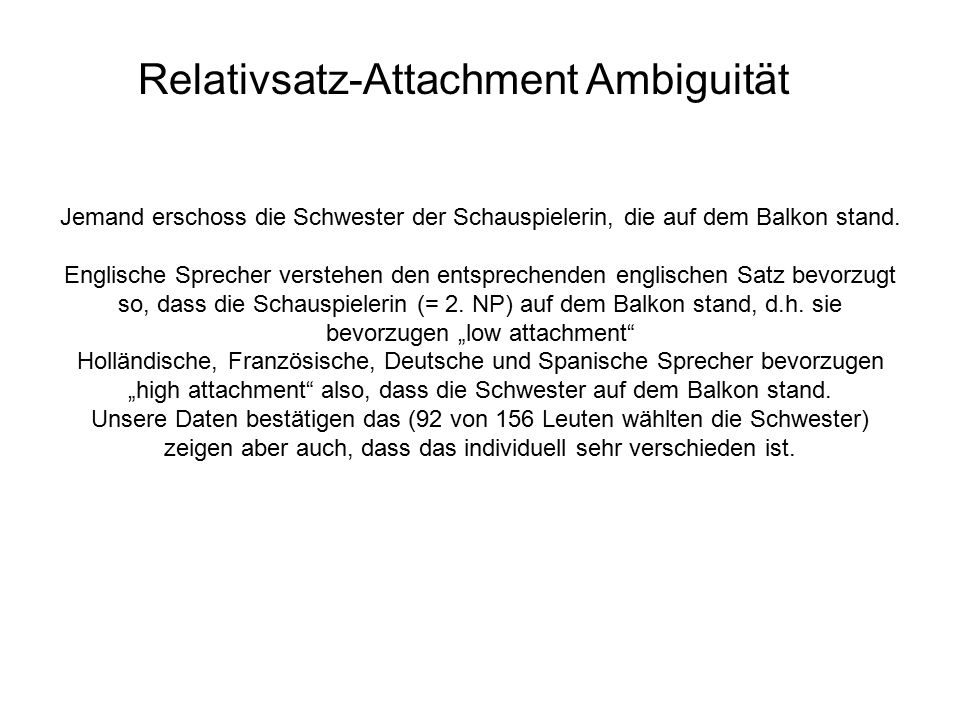 Relativsatz-Attachment Ambiguität Jemand erschoss die Schwester der Schauspielerin, die auf dem Balkon stand.