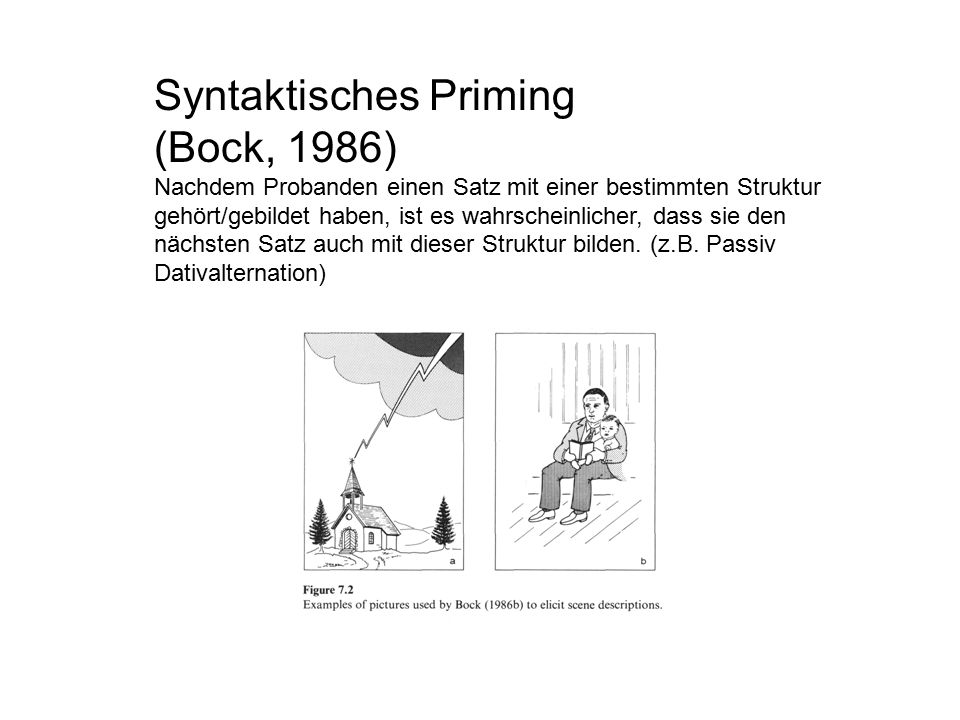 Syntaktisches Priming (Bock, 1986) Nachdem Probanden einen Satz mit einer bestimmten Struktur gehört/gebildet haben, ist es wahrscheinlicher, dass sie den nächsten Satz auch mit dieser Struktur bilden.