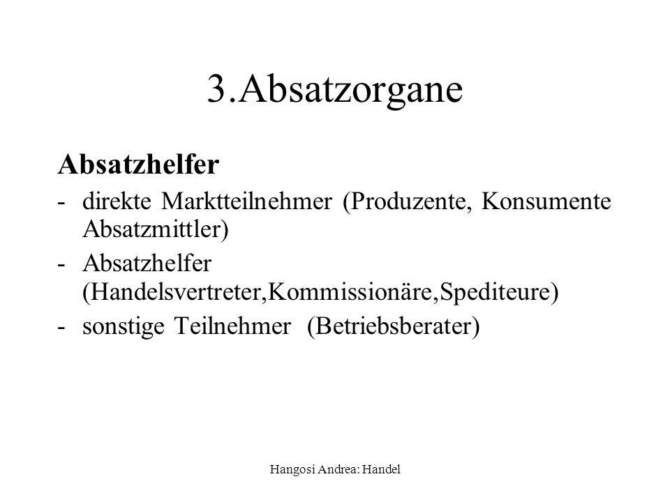 Hangosi Andrea: Handel 3.Absatzorgane Absatzhelfer -direkte Marktteilnehmer (Produzente, Konsumente Absatzmittler) -Absatzhelfer (Handelsvertreter,Kom