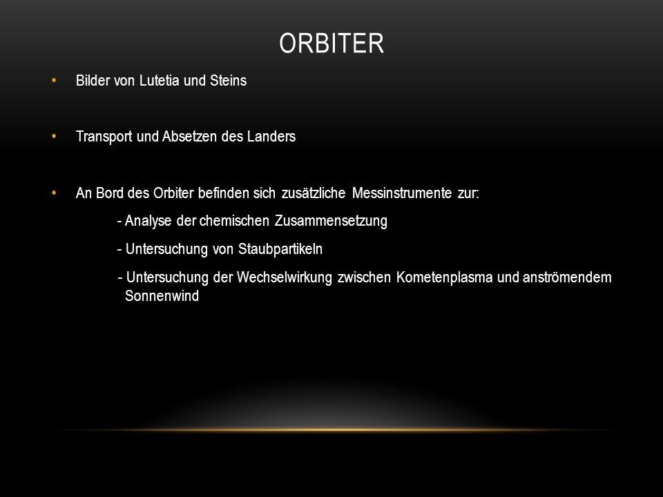 ORBITER Bilder von Lutetia und Steins Transport und Absetzen des Landers An Bord des Orbiter befinden sich zusätzliche Messinstrumente zur: - Analyse