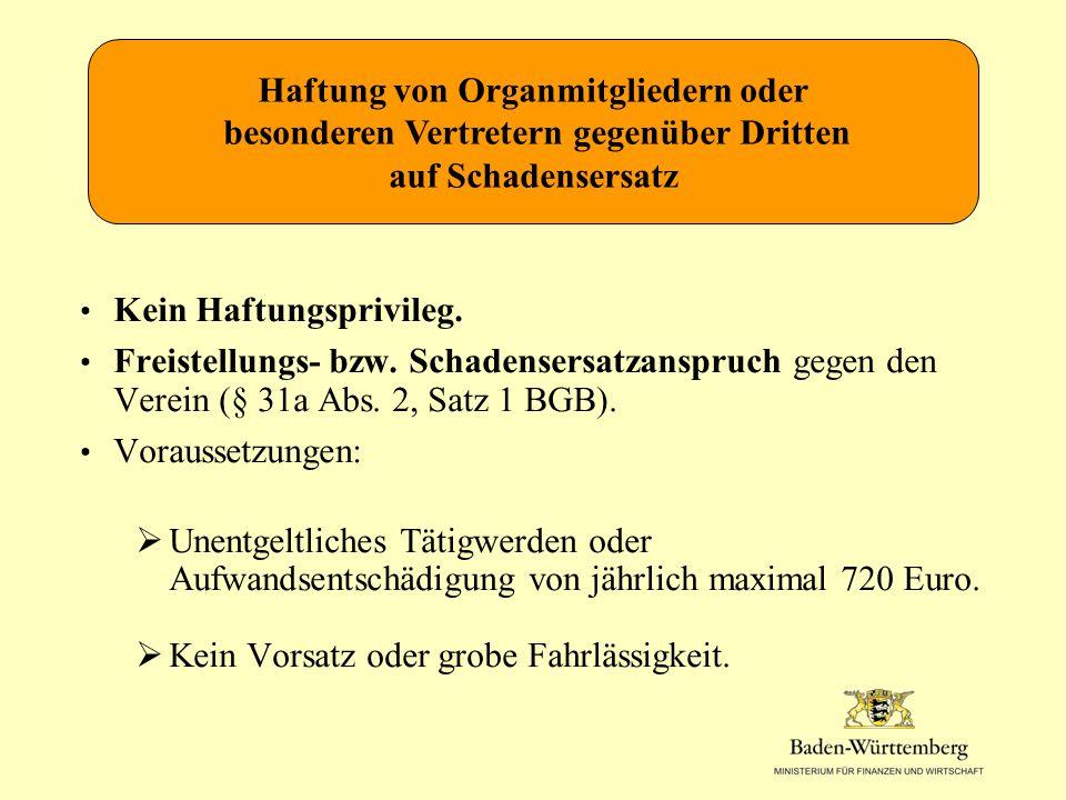 Kein Haftungsprivileg.Freistellungs- bzw. Schadensersatzanspruch gegen den Verein (§ 31a Abs.