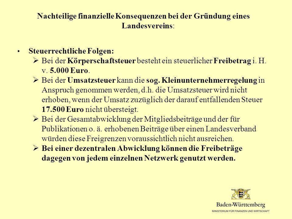 Nachteilige finanzielle Konsequenzen bei der Gründung eines Landesvereins: Steuerrechtliche Folgen:  Bei der Körperschaftsteuer besteht ein steuerlicher Freibetrag i.