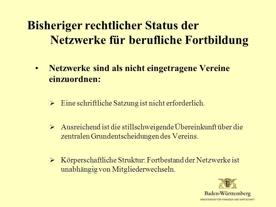 Bisheriger rechtlicher Status der Netzwerke für berufliche Fortbildung Netzwerke sind als nicht eingetragene Vereine einzuordnen:  Eine schriftliche Satzung ist nicht erforderlich.
