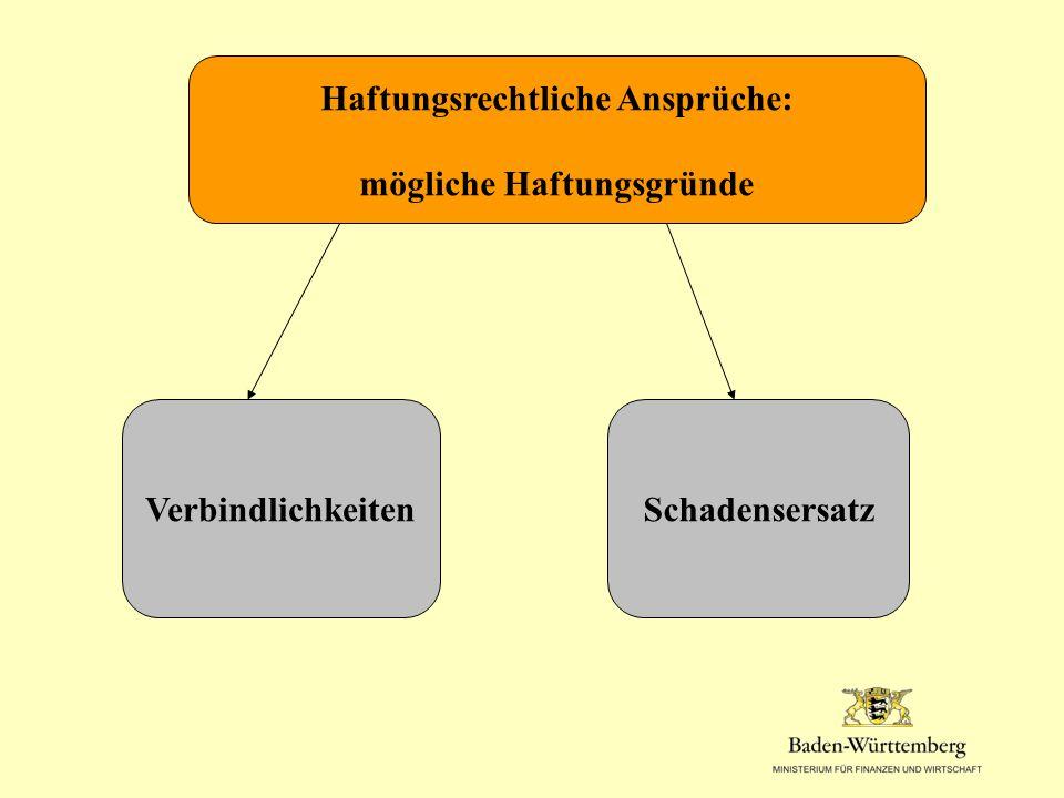 Haftungsrechtliche Ansprüche: mögliche Haftungsgründe VerbindlichkeitenSchadensersatz