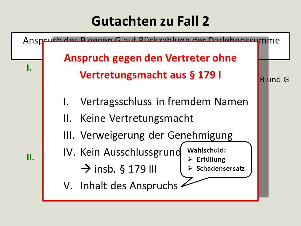 I.Anspruch entstanden 1.Zustandekommen eines Darlehensvertrages zwischen B und G a.Erklärung des H aa.Eigene Willenserklärung des H bb.Im Namen des G