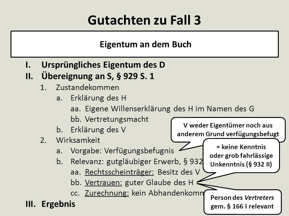 I.Ursprüngliches Eigentum des D II.Übereignung an S, § 929 S. 1 1.Zustandekommen a.Erklärung des H aa.Eigene Willenserklärung des H im Namen des G bb.