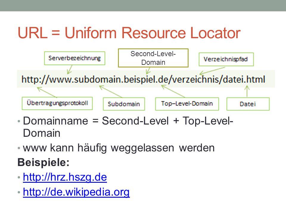URL = Uniform Resource Locator Domainname = Second-Level + Top-Level- Domain www kann häufig weggelassen werden Beispiele: http://hrz.hszg.de http://de.wikipedia.org Second-Level- Domain