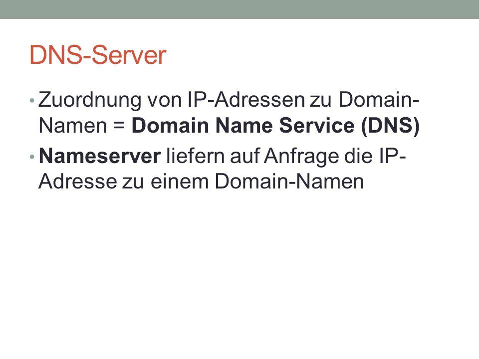 DNS-Server Zuordnung von IP-Adressen zu Domain- Namen = Domain Name Service (DNS) Nameserver liefern auf Anfrage die IP- Adresse zu einem Domain-Namen