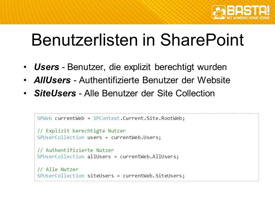 Benutzerlisten in SharePoint Users - Benutzer, die explizit berechtigt wurden AllUsers - Authentifizierte Benutzer der Website SiteUsers - Alle Benutz