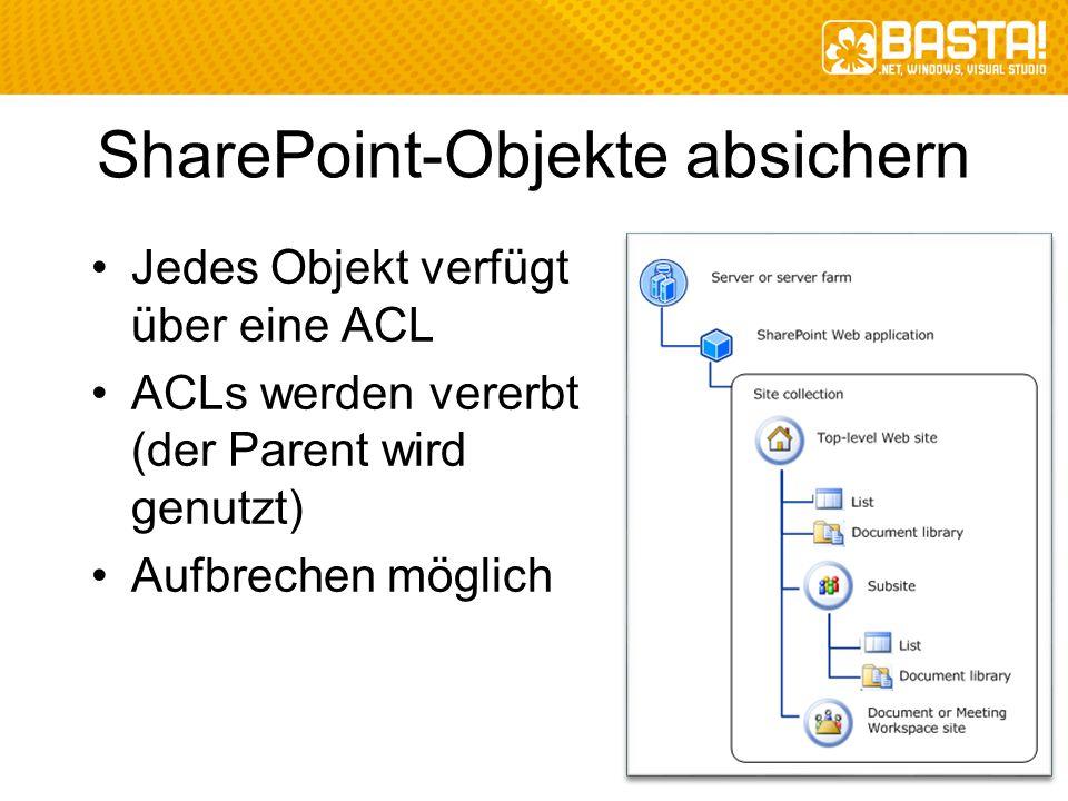 SharePoint-Objekte absichern Jedes Objekt verfügt über eine ACL ACLs werden vererbt (der Parent wird genutzt) Aufbrechen möglich