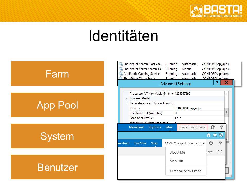 Identitäten App Pool Farm System Benutzer
