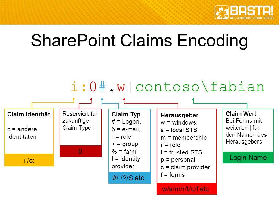 SharePoint Claims Encoding i:0#.w|contoso\fabian Claim Identität c = andere Identitäten i:/c: Reserviert für zukünftige Claim Typen 0 Claim Typ # = Lo