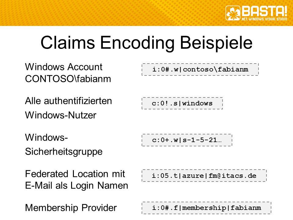Claims Encoding Beispiele Windows Account CONTOSO\fabianm Alle authentifizierten Windows-Nutzer Windows- Sicherheitsgruppe Federated Location mit E-Ma