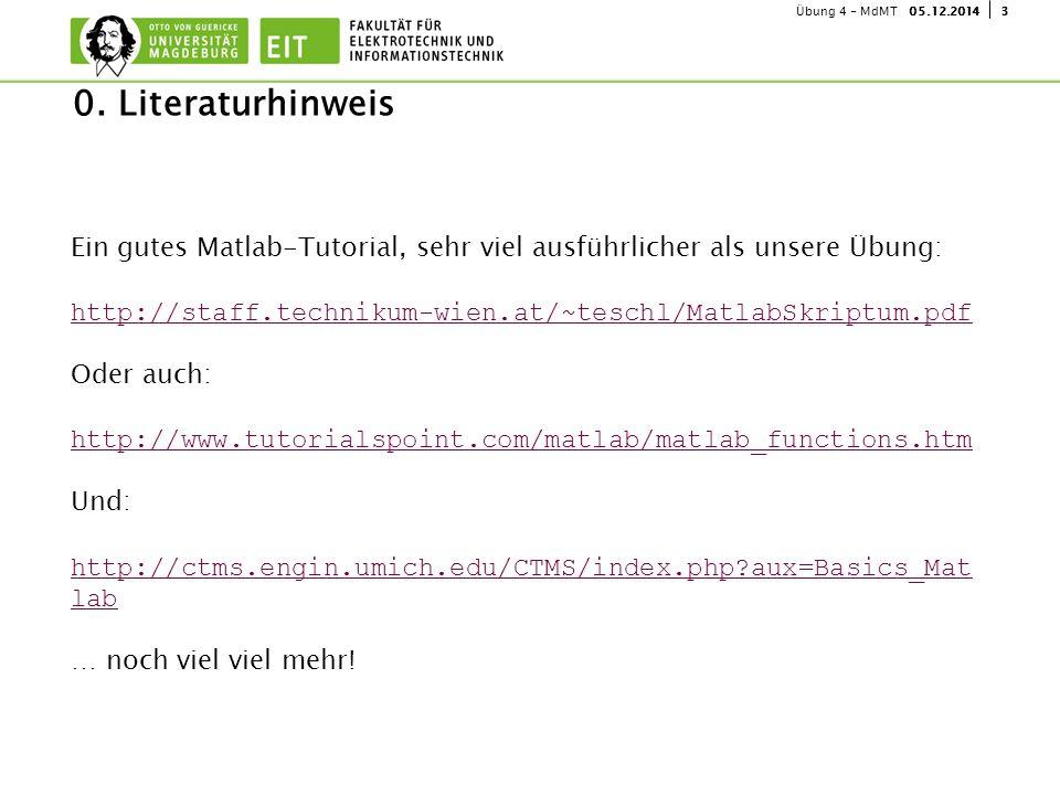 305.12.2014Übung 4 - MdMT Ein gutes Matlab-Tutorial, sehr viel ausführlicher als unsere Übung: http://staff.technikum-wien.at/~teschl/MatlabSkriptum.p