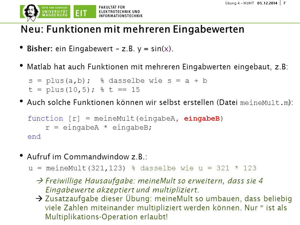 705.12.2014Übung 4 - MdMT Bisher: ein Eingabewert – z.B. y = sin(x). Matlab hat auch Funktionen mit mehreren Eingabwerten eingebaut, z.B: Auch solche