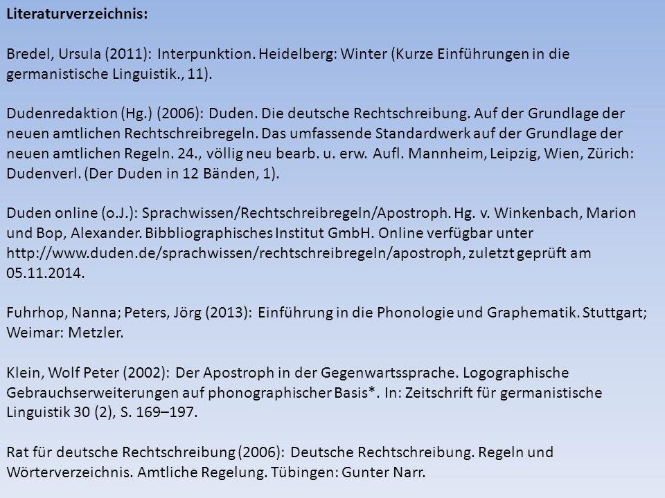 Literaturverzeichnis: Bredel, Ursula (2011): Interpunktion.
