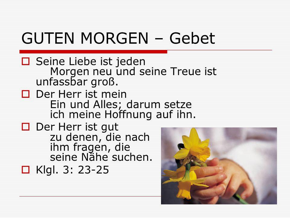 GUTEN MORGEN – Gebet  Seine Liebe ist jeden Morgen neu und seine Treue ist unfassbar groß.  Der Herr ist mein Ein und Alles; darum setze ich meine H