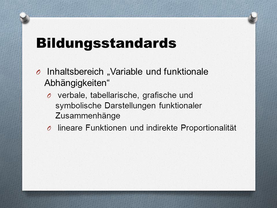 """Bildungsstandards O Inhaltsbereich """"Variable und funktionale Abhängigkeiten"""" O verbale, tabellarische, grafische und symbolische Darstellungen funktio"""