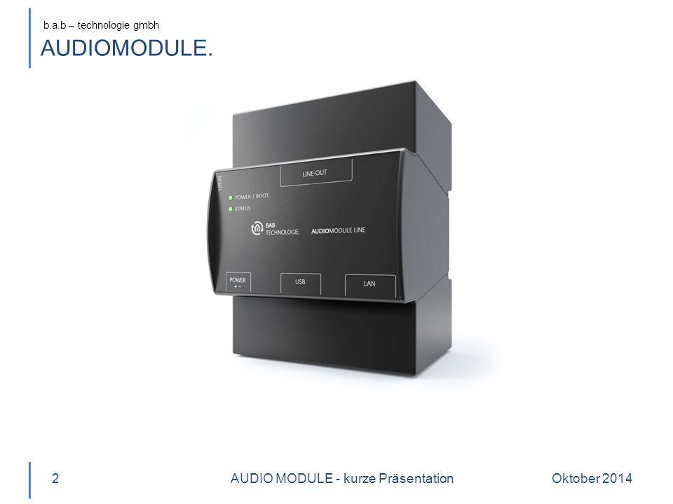 b.a.b – technologie gmbh Oktober 20143 Produktname AUDIOMODULE Varianten 10510 Speaker 10520 Line AUDIO MODULE - kurze Präsentation AUDIOMODULE.