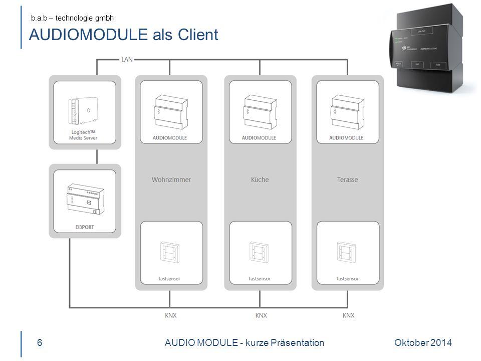 b.a.b – technologie gmbh AUDIOMODULE als Server Oktober 2014AUDIO MODULE - kurze Präsentation7