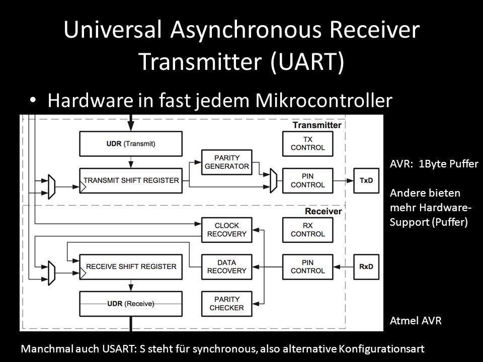 Universal Asynchronous Receiver Transmitter (UART) Hardware in fast jedem Mikrocontroller Manchmal auch USART: S steht für synchronous, also alternati