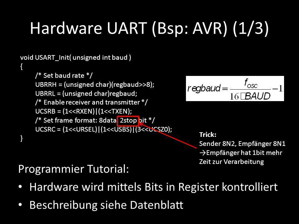Hardware UART (Bsp: AVR) (1/3) Programmier Tutorial: Hardware wird mittels Bits in Register kontrolliert Beschreibung siehe Datenblatt void USART_Init
