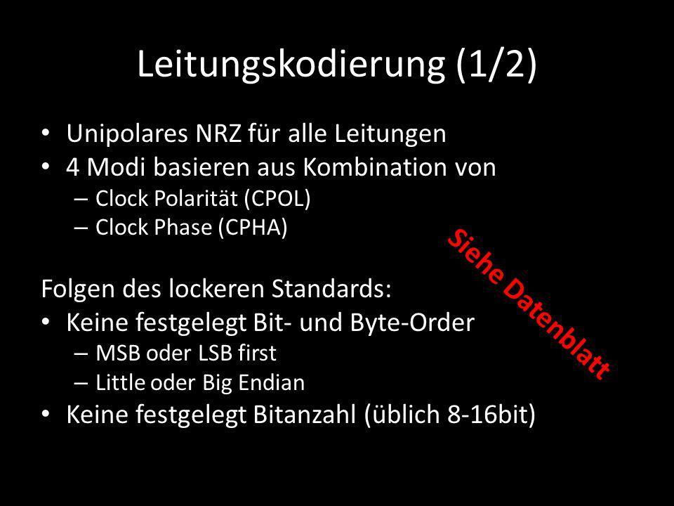 Leitungskodierung (1/2) Unipolares NRZ für alle Leitungen 4 Modi basieren aus Kombination von – Clock Polarität (CPOL) – Clock Phase (CPHA) Folgen des