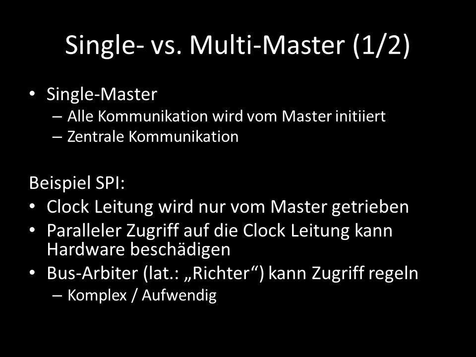 Single- vs. Multi-Master (1/2) Single-Master – Alle Kommunikation wird vom Master initiiert – Zentrale Kommunikation Beispiel SPI: Clock Leitung wird