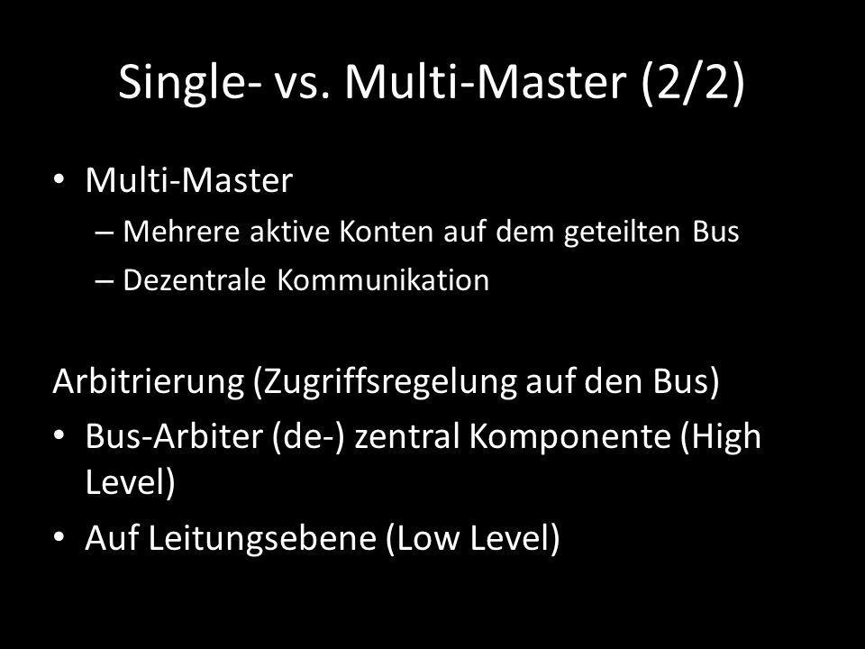 Single- vs. Multi-Master (2/2) Multi-Master – Mehrere aktive Konten auf dem geteilten Bus – Dezentrale Kommunikation Arbitrierung (Zugriffsregelung au