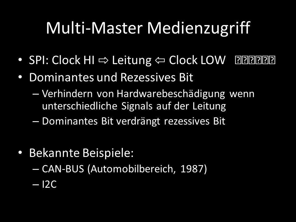 Multi-Master Medienzugriff SPI: Clock HI ⇨ Leitung ⇦ Clock LOW Dominantes und Rezessives Bit – Verhindern von Hardwarebeschädigung wenn unterschiedlic