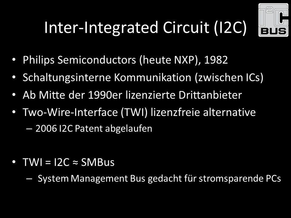 Inter-Integrated Circuit (I2C) Philips Semiconductors (heute NXP), 1982 Schaltungsinterne Kommunikation (zwischen ICs) Ab Mitte der 1990er lizenzierte
