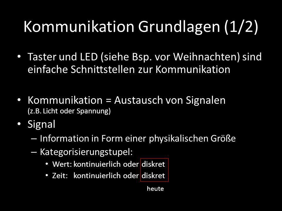 Kommunikation Grundlagen (1/2) Taster und LED (siehe Bsp. vor Weihnachten) sind einfache Schnittstellen zur Kommunikation Kommunikation = Austausch vo