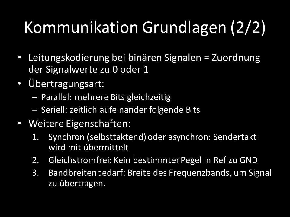 Kommunikation Grundlagen (2/2) Leitungskodierung bei binären Signalen = Zuordnung der Signalwerte zu 0 oder 1 Übertragungsart: – Parallel: mehrere Bit