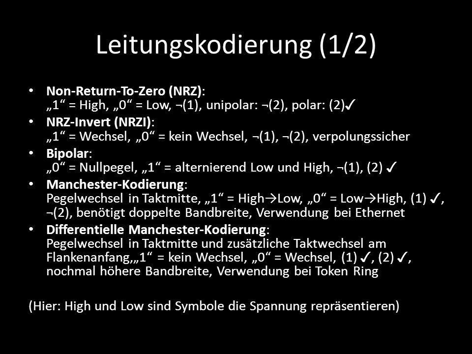 "Leitungskodierung (1/2) Non-Return-To-Zero (NRZ): ""1"" = High, ""0"" = Low, ¬(1), unipolar: ¬(2), polar: (2) ✓ NRZ-Invert (NRZI): ""1"" = Wechsel, ""0"" = ke"