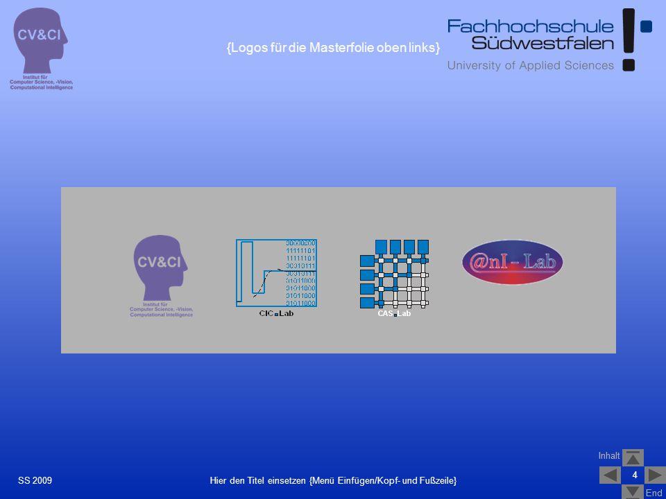 Inhalt End Inhalt End 4 Hier den Titel einsetzen {Menü Einfügen/Kopf- und Fußzeile}SS 2009 {Logos für die Masterfolie oben links}