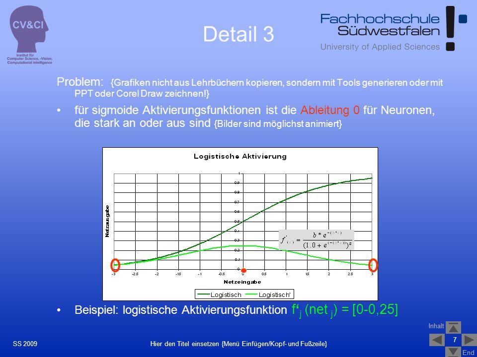 Inhalt End Inhalt End 7 Hier den Titel einsetzen {Menü Einfügen/Kopf- und Fußzeile}SS 2009 Problem: {Grafiken nicht aus Lehrbüchern kopieren, sondern