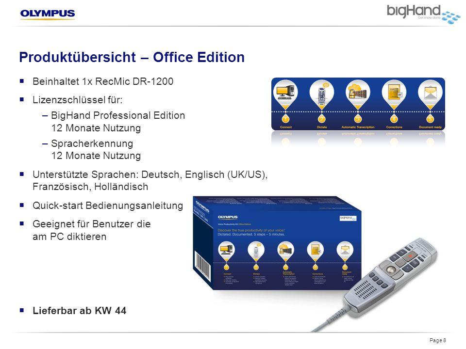 Produktübersicht – Office Edition  Beinhaltet 1x RecMic DR-1200  Lizenzschlüssel für: –BigHand Professional Edition 12 Monate Nutzung –Spracherkennu