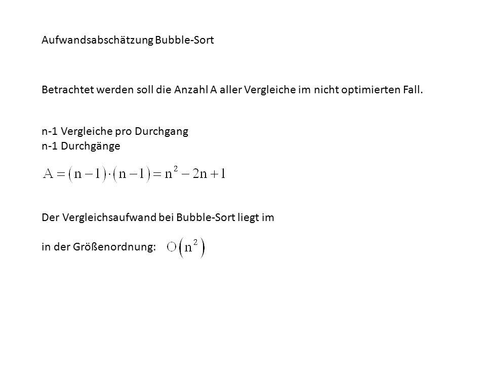 Aufwandsabschätzung Bubble-Sort Betrachtet werden soll die Anzahl A aller Vergleiche im nicht optimierten Fall.