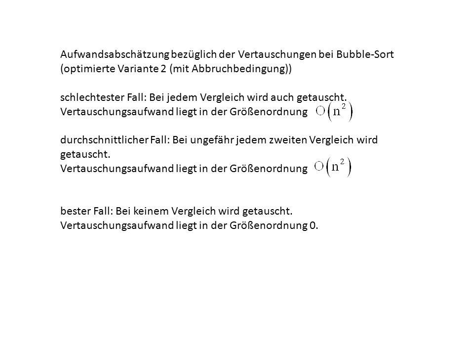 Aufwandsabschätzung bezüglich der Vertauschungen bei Bubble-Sort (optimierte Variante 2 (mit Abbruchbedingung)) schlechtester Fall: Bei jedem Vergleich wird auch getauscht.