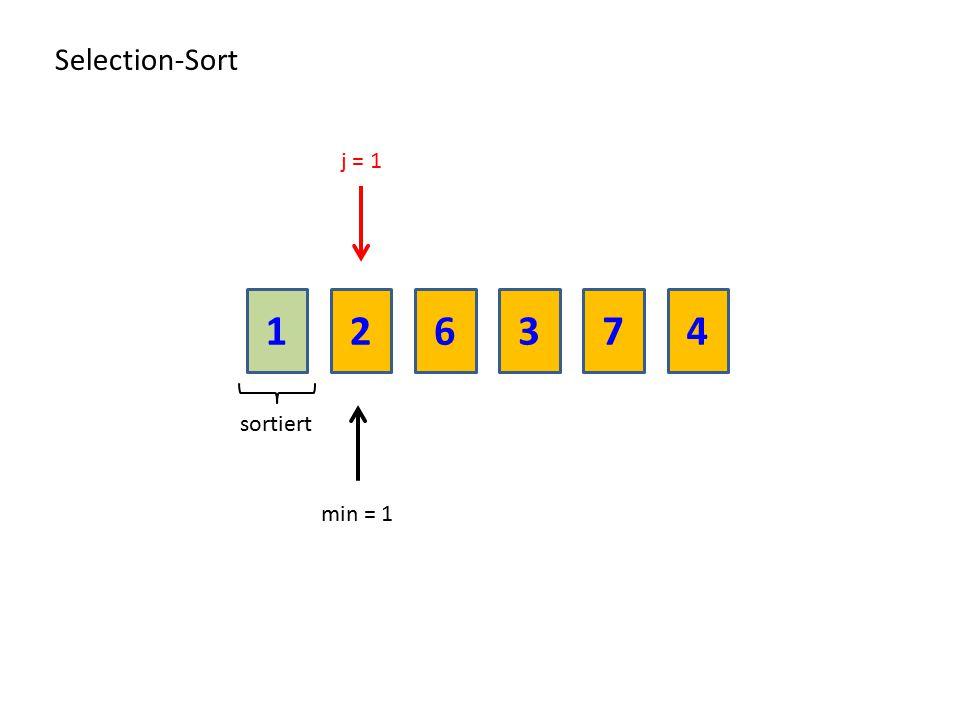 216374 Selection-Sort sortiert min = 1 j = 1