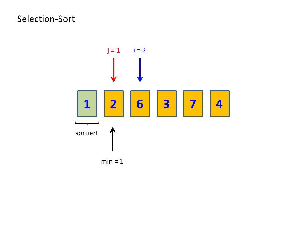 216374 Selection-Sort sortiert min = 1 i = 2 j = 1
