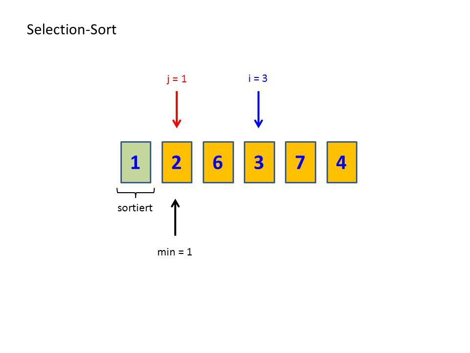 216374 Selection-Sort sortiert min = 1 i = 3 j = 1