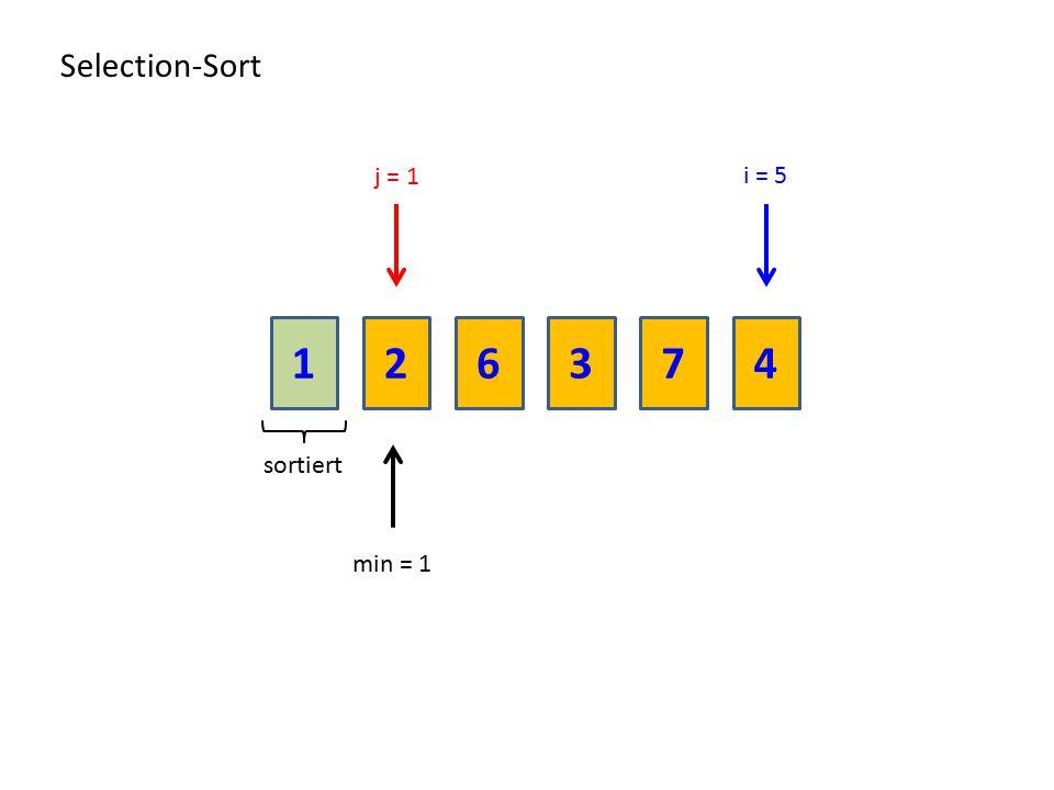 216374 Selection-Sort sortiert min = 1 i = 5 j = 1