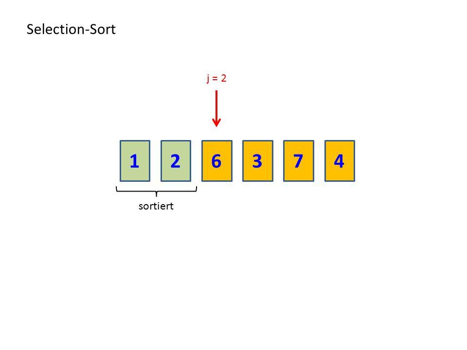 216374 Selection-Sort sortiert j = 2