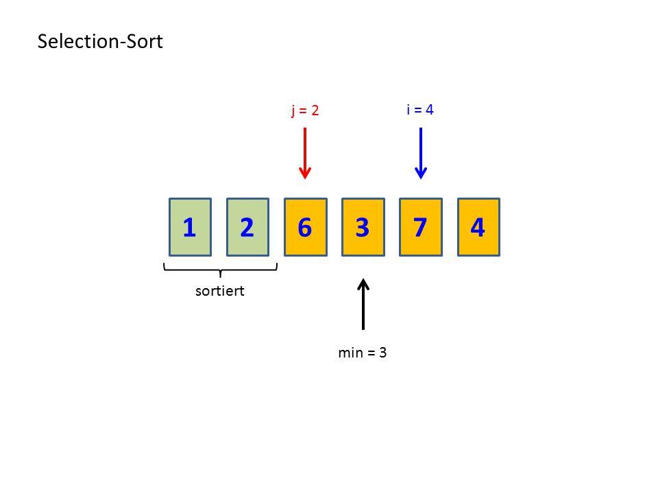 216374 Selection-Sort sortiert min = 3 i = 4 j = 2