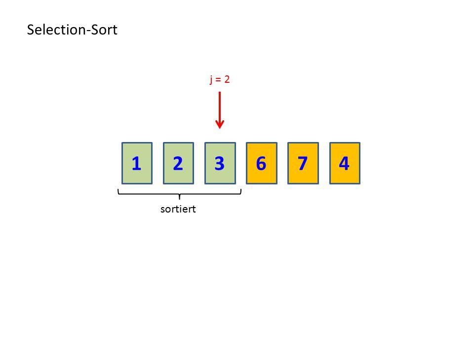 213674 Selection-Sort sortiert j = 2