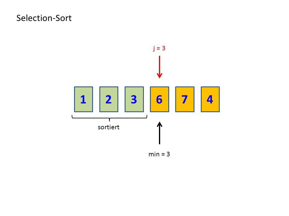213674 Selection-Sort sortiert j = 3 min = 3
